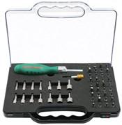 Отверточная рукоятка трещоточная с набором бит и насадок 52 предмета