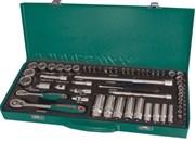 """Набор головок торцевых стандартных и глубоких 1/4"""" и 3/8""""DR 4-24 мм., с аксессуарами, 56 предметов"""