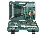 """Универсальный набор торцевых головок 1/4""""DR 5-12 мм и 1/2""""DR 12-32 мм, отверток, комбинированных ключей 6-24 мм, разрезных ключей 8-19 мм и угловых ключей, 78 предметов"""