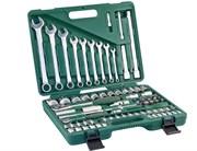 """Универсальный набор торцевых головок 1/4""""DR 4-14 мм и 1/2""""DR 14-32 мм и комбинированных ключей 8-22 мм, 82 предмета"""
