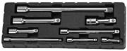"""Комплект удлинителей 1/4"""" - 50,75,150 мм 3/8"""" - 75,150, 1/2""""DR - 75,125,250 мм, 8 предметов"""