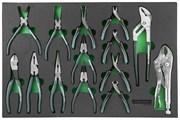 Набор шарнирно-губцевого инструмента. 14 предметов в EVA ложементе 560х400 мм.